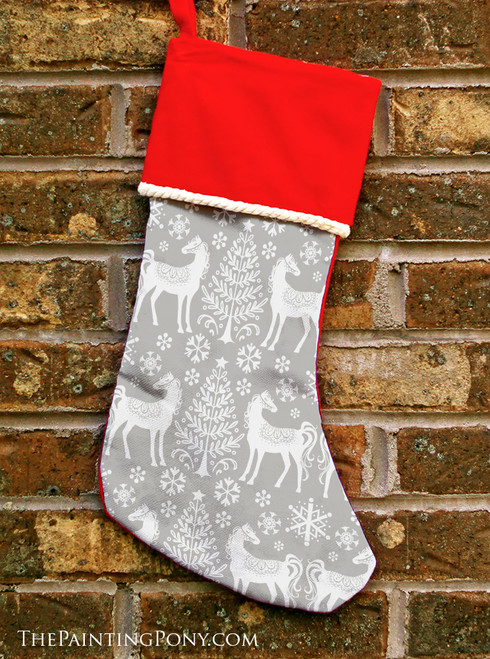 Winter Horse Pattern Equestrian Christmas Stocking