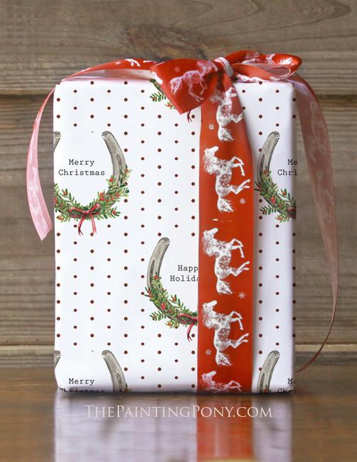 Christmas Horse Shoe Pattern Equestrian Gift Wrapping Paper