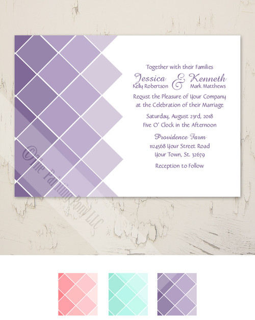 Purple Ombre Wedding Invitation