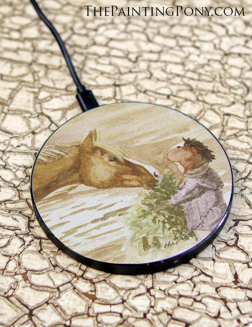 Morning Hay Chestnut Pony Equestrian Art Wireless Charger