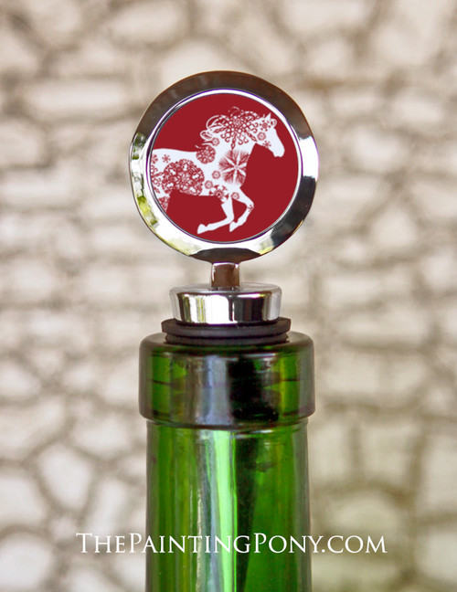 Christmas Snowflake Horse Equestrian Wine Stopper