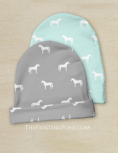 Classy Horse Pattern Equestrian Baby Beanie Hat