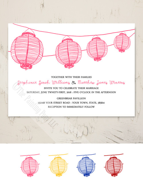 Pink Japanese Garden Lanterns Wedding Invitation