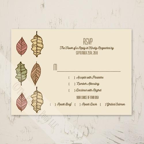 Autumn Leaves Wedding Response Card