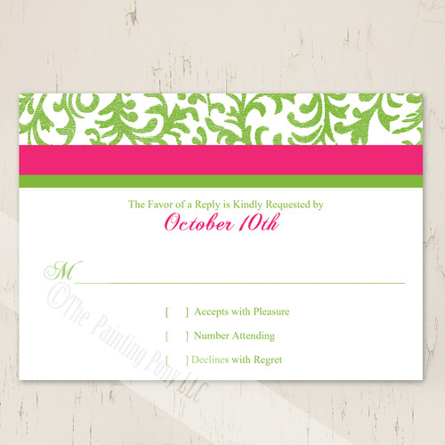 Pink and green wedding response card