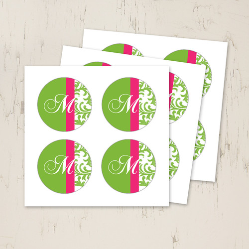 Pink and green wedding monogram stickers