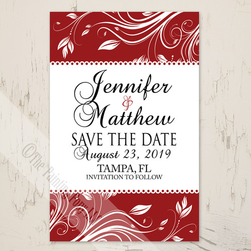 red and white floral swirls wedding save the date postcard