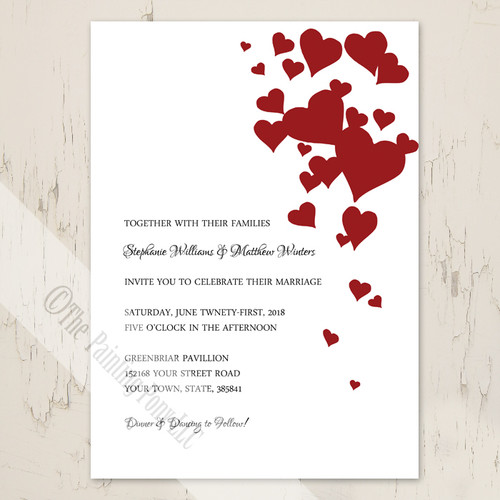romantic red hearts wedding invitation