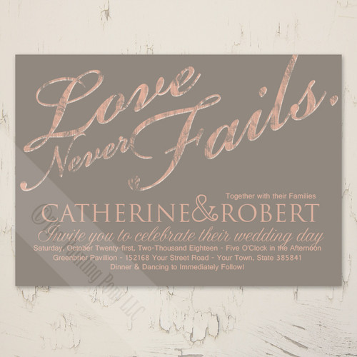 Christian religious themed love never fails rustic wedding invitation