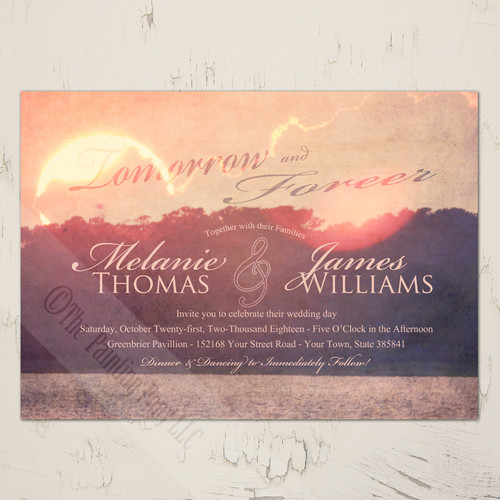 Waterfront sunset wedding invitation