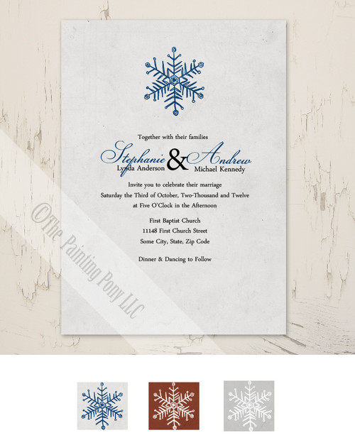 Blue and silver grey snowflake winter wedding invitation