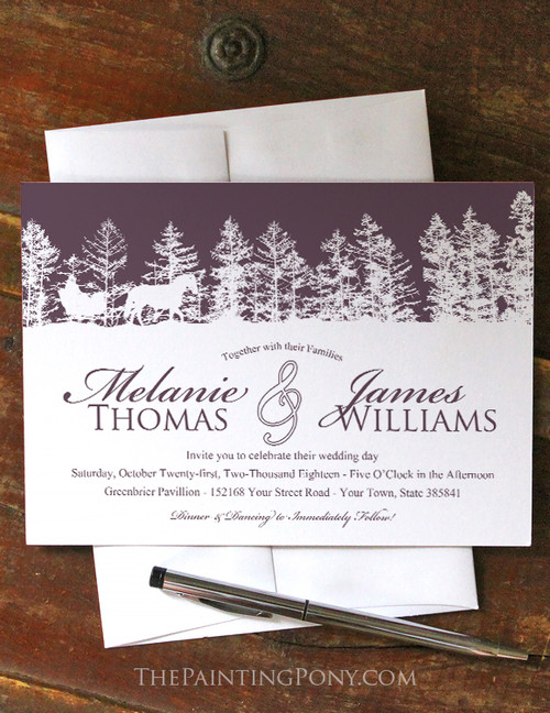Horse Sleigh Winter Wedding Invitation (10 pk) (other colors available)