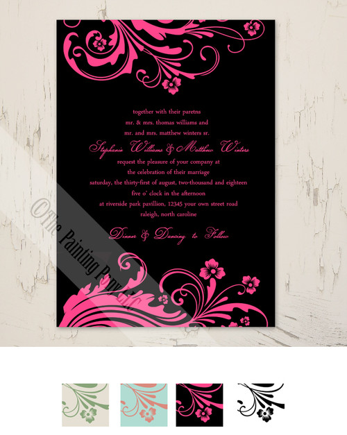 Chic Floral Wedding Invitation (10 pk)
