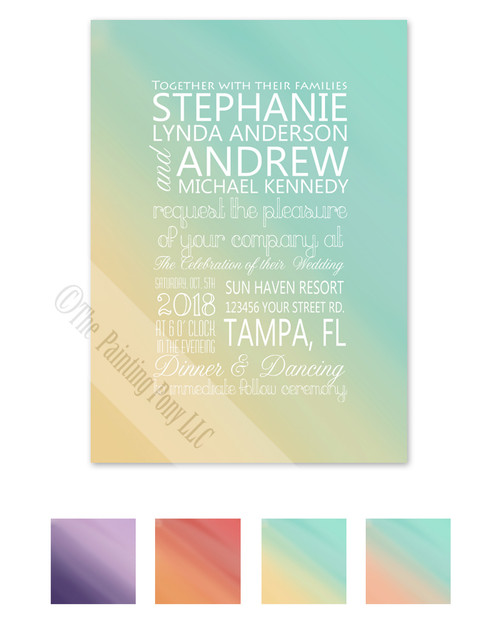 Modern Teal and yellow blended color wedding invitation