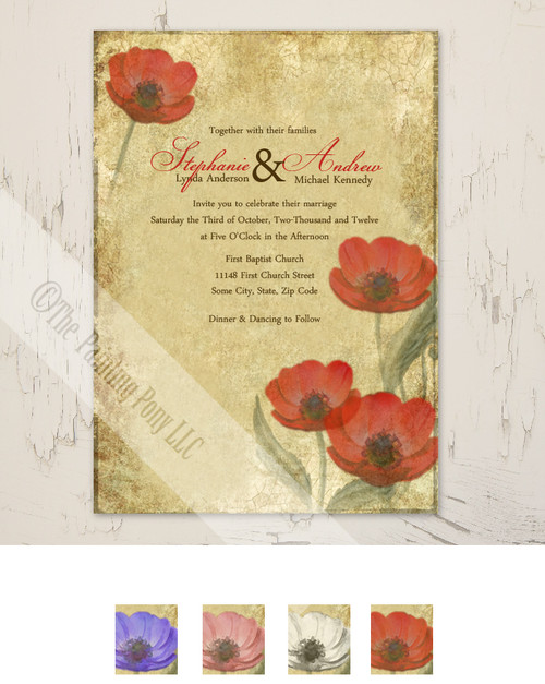 Vintage red Poppies Wedding invitation