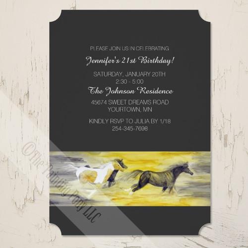 Stylish Equestrian Themed Galloping Horses Birthday Party Invitation