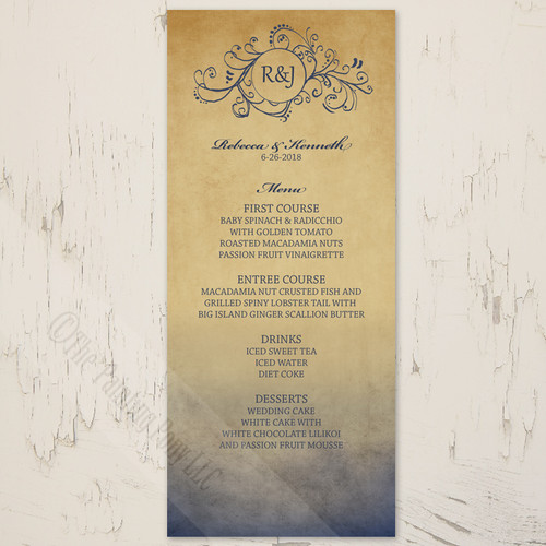 Navy and Gold Rustic Bohemian Wedding Menu Card
