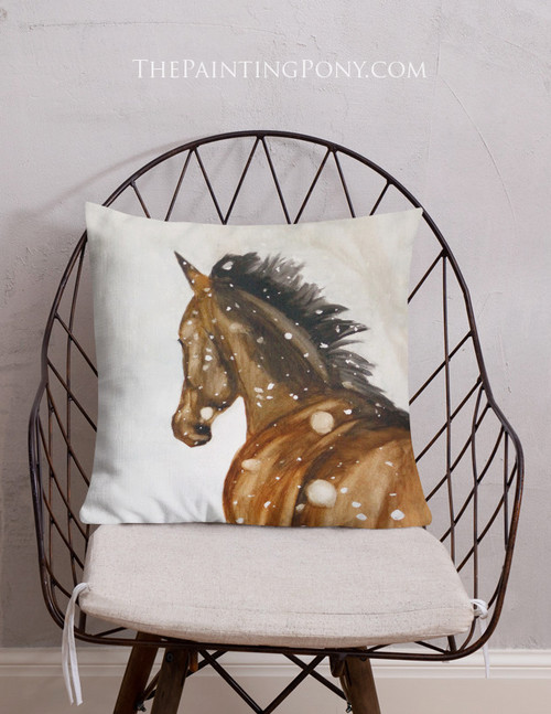 Gallop in the Snow Equestrian Themed Throw Pillow