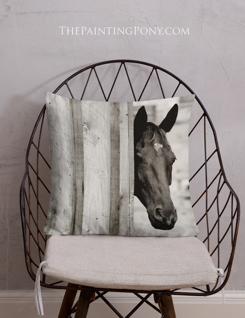Black Horse Head Throw Pillow