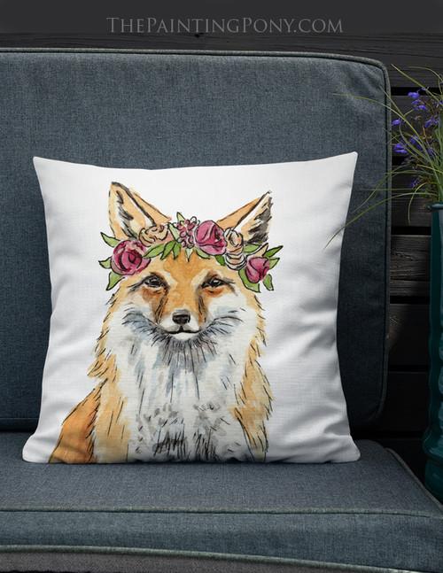 Bohemian Fox Throw Pillow