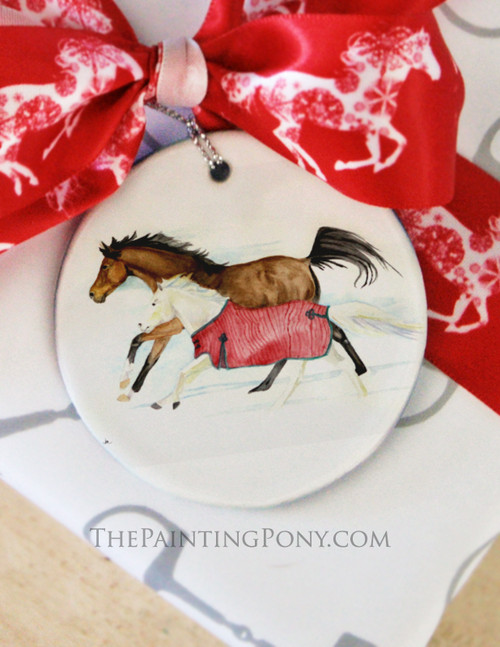Galloping Horses Watercolor Art Equestrian Christmas Ornament