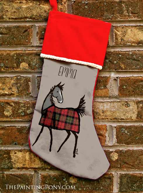 Horse Foal with Plaid Christmas Stocking
