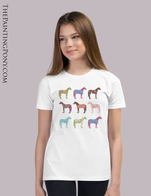 Colorful Horses Equestrian Youth T-Shirt