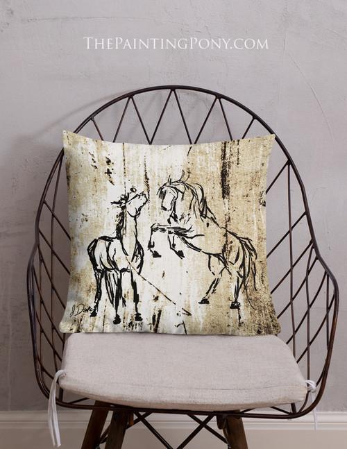 Rustic Rearing Horses Throw Pillow