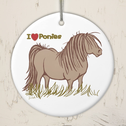 I Love Ponies Equestrian Christmas Ornament