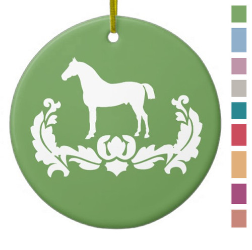 Apple Green Damask Horse Equestrian Christmas Ornament