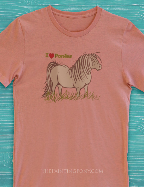 I Love Ponies Adult T-Shirt