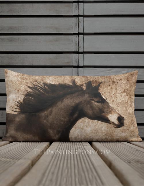 Brown Arabian Horse Head Brown Pillow