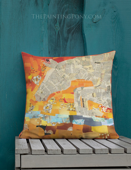 Jumping Collage Horse Throw Pillow