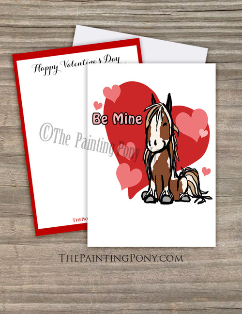 Cute Cartoon Pony Valentine's Day Flat Card (10 pk)