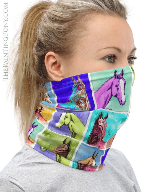 Colorful Horse Heads Pattern Equestrian Neck Gaiter