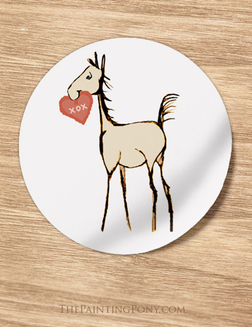 Sweet Heart Horse Foal Valentine Stickers