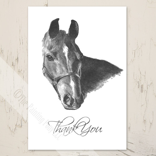 Equestrian Horse Head art Thank You Note Card