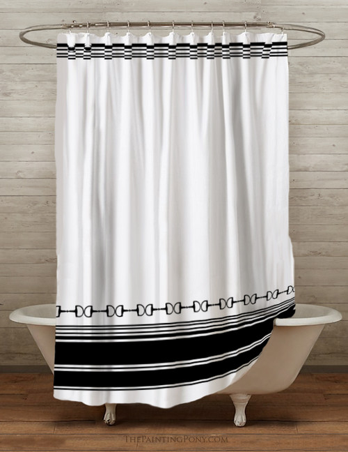 Striped Equestrian Themed Shower Curtain