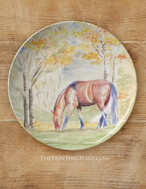 "Fall Horse Art 10"" Equestrian Plate"