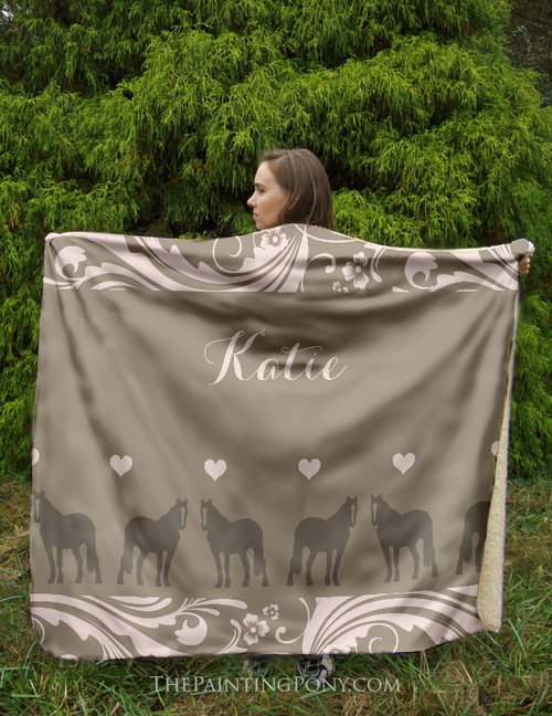 Personalized Country Horse Sherpa Fleece Throw Blanket