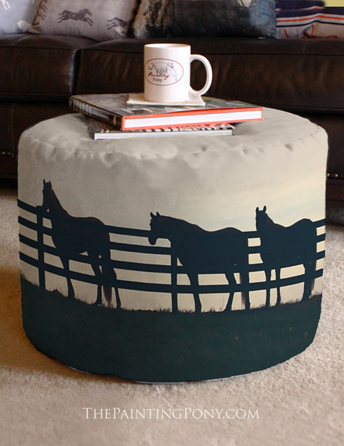 Horses at the Fence Equestrian Ottoman