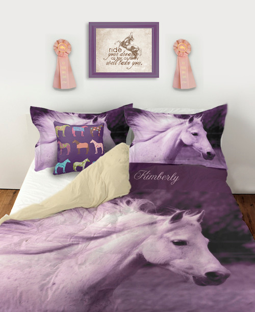 Purple colored white horse head duvet bedding cover set for the equestrian little girl who loves horses and ponies.