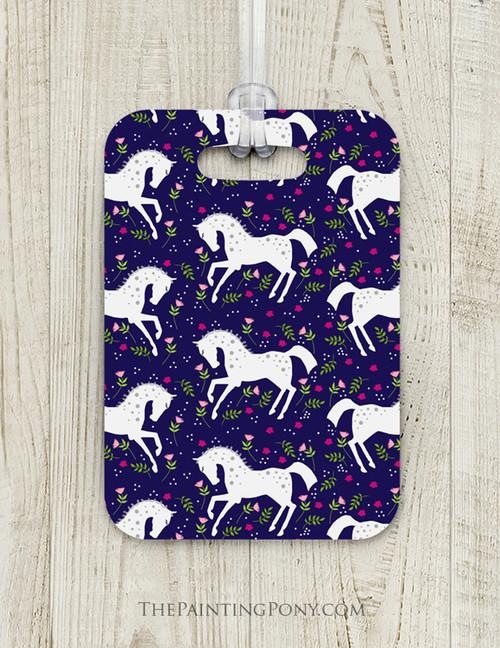 White Ponies Custom Luggage Tag