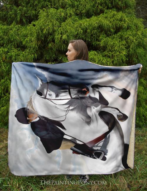 Hunter Jumper Horse Sherpa Fleece Throw Blanket