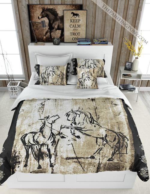 Rustic Rearing Horses Equestrian Bedding Set