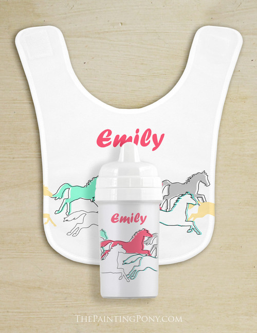 Personalized Galloping Horse Baby Bib & Sippy Cup Set
