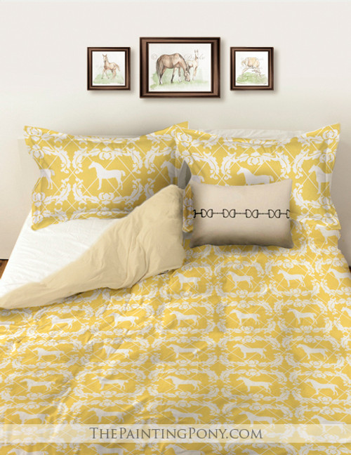 Yellow and White Damask Horse Pattern Bedding Set
