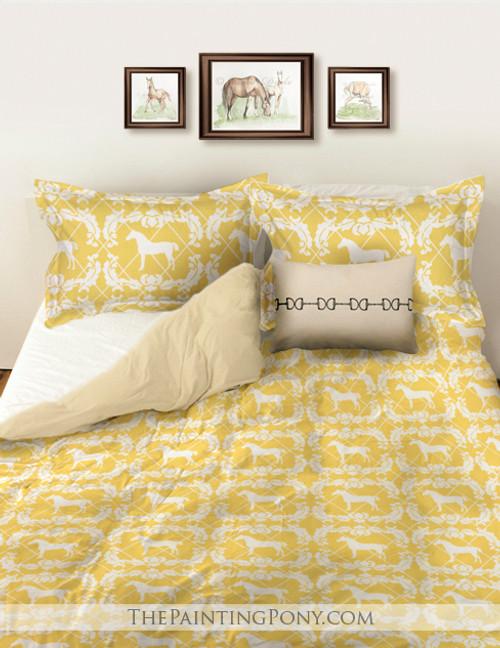 Yellow and White Damask Horse Pattern Bedding Set