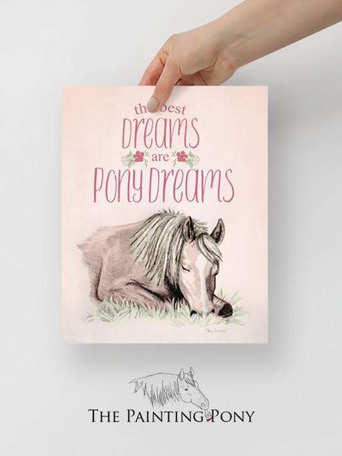 Pony Dreams Equestrian Typography Print