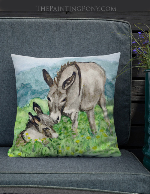 Miniature Donkey Mom and Baby Throw Pillow